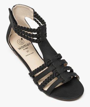 Sandales femme avec brides tressées autour de la cheville vue5 - GEMO (CASUAL) - GEMO