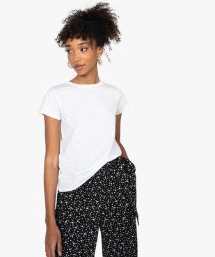 Tee-shirt femme à manches courtes et col rond vue1 - GEMO C4G FEMME - GEMO