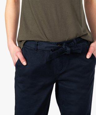 Pantalon femme chino en toile extensible avec ceinture à nouer vue2 - GEMO(FEMME PAP) - GEMO