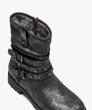 Boots fourrées femme à semelle crantée et brides fantaisie vue5 - GEMO (CASUAL) - GEMO
