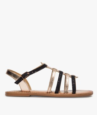 Sandales fille style tropéziennes en cuir métallisé vue1 - GEMO (ENFANT) - GEMO