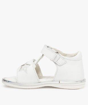 Sandales bébé fille en cuir avec étoiles et cœur vue3 - GEMO(BEBE DEBT) - GEMO