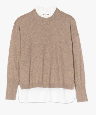Pull femme effet 2 en 1 avec col chemise froncé vue4 - GEMO(FEMME PAP) - GEMO