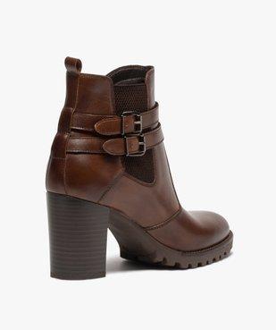 Boots femme à talon rainuré dessus en cuir uni vue4 - GEMO(URBAIN) - GEMO