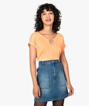 Tee-shirt femme en maille gaufrée avec petit bijou au col vue1 - GEMO(FEMME PAP) - GEMO