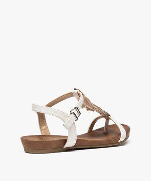 Sandales femme avec feuille en strass et petit talon compensé vue4 - GEMO (CASUAL) - GEMO