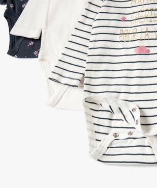 Bodies bébé fille à manches longues col américain (lot de 3) vue3 - GEMO(BB COUCHE) - GEMO