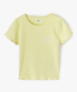 Tee-shirt fille court en nid d'abeille avec manches volantées vue1 - GEMO C4G FILLE - GEMO