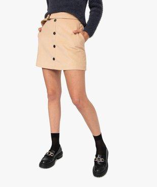 Jupe femme en velours côtelé avec ceinture vue1 - GEMO(FEMME PAP) - GEMO