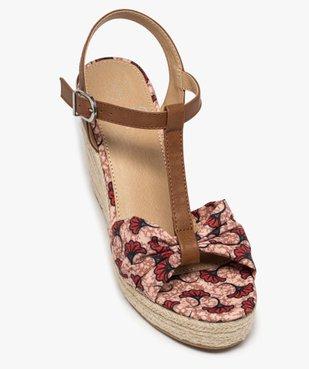 Sandales femme à talon compensé et bride drapée en tissu vue5 - GEMO(URBAIN) - GEMO