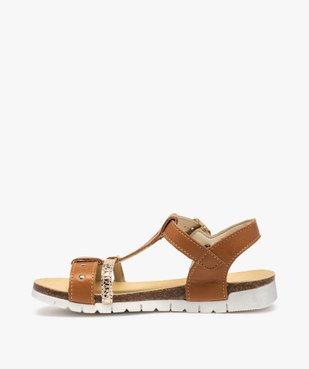 Sandales fille dessus cuir à semelle crantée - Bopy vue3 - BOPY - GEMO