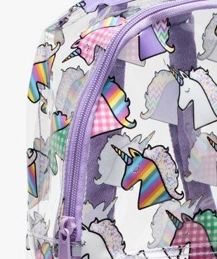 Sac à dos fille en vinyle avec motifs licornes vue3 - GEMO (ENFANT) - GEMO