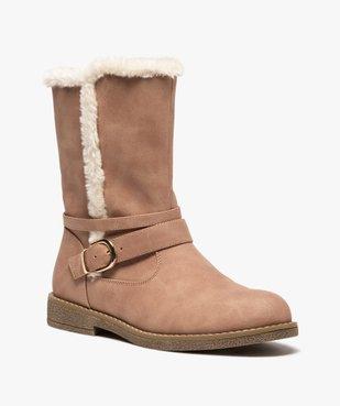 Boots fourrés femme unis à bride décorative vue2 - GEMO (CASUAL) - GEMO