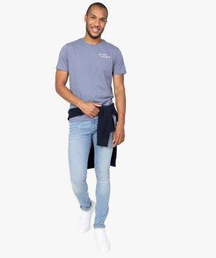Jean homme skinny avec traces d'usure et délavage économe en eau vue5 - GEMO C4G HOMME - GEMO