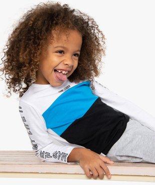 Tee-shirt garçon tricolore à manches longues vue1 - GEMO (ENFANT) - GEMO