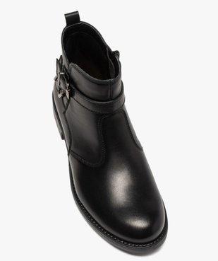 Boots fille unis dessus cuir à fermeture zippée vue5 - GEMO (ENFANT) - GEMO