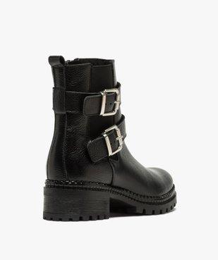 Boots femme à talon large unies en cuir à semelle crantée vue4 - GEMO (CASUAL) - GEMO