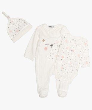 Ensemble bébé fille (3 pièces) pyjama velours, body et bonnet  vue1 - GEMO(BB COUCHE) - GEMO