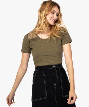 Tee-shirt femme à manches courtes avec épaules en dentelle vue1 - GEMO (MAILLE) - GEMO