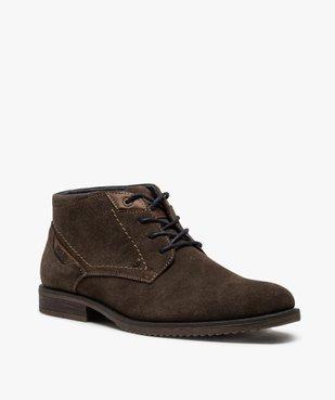 Boots homme unis à lacets dessus en cuir velours vue2 - GEMO(URBAIN) - GEMO