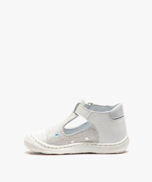 Sandales premiers pas bébé fille en cuir dessus pailleté vue3 - Nikesneakers(BEBE DEBT) - Nikesneakers