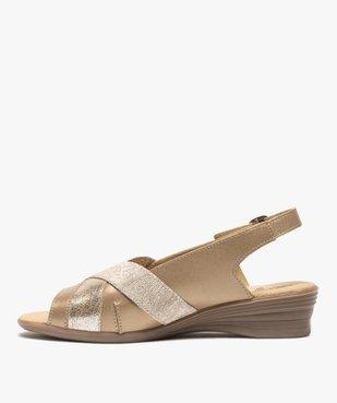 Sandales femme confort en cuir avec détails brillants vue3 - GEMO (CONFORT) - GEMO