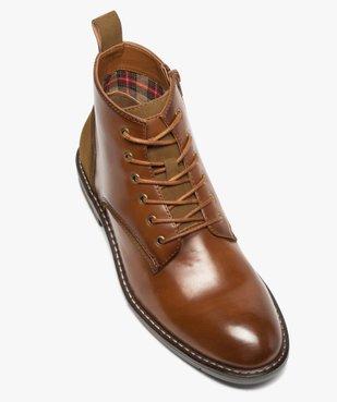 Boots homme unis à lacets et zip avec couture débordante vue5 - GEMO (CASUAL) - GEMO