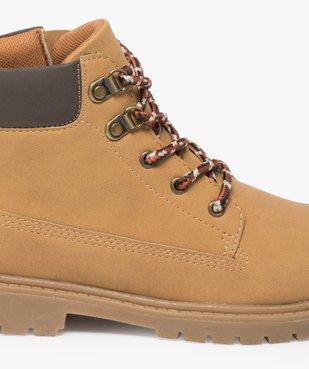Boots garçon avec col rembourré, lacets montagne et semelle crantée vue6 - GEMO (ENFANT) - GEMO
