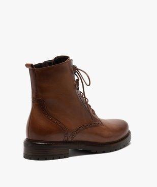 Boots femme à lacets dessus cuir à bordures fleuries vue4 - GEMO (CASUAL) - GEMO