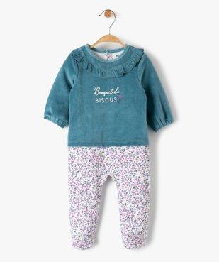 Pyjama bébé fille en velours effet 2 en 1 vue1 - GEMO(BB COUCHE) - GEMO