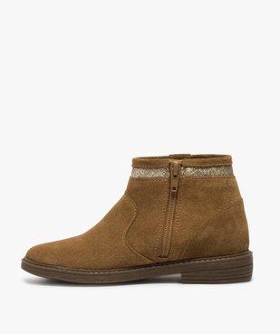 Boots fille zippés dessus cuir pompons et bordure pailletés vue3 - Nikesneakers (ENFANT) - Nikesneakers