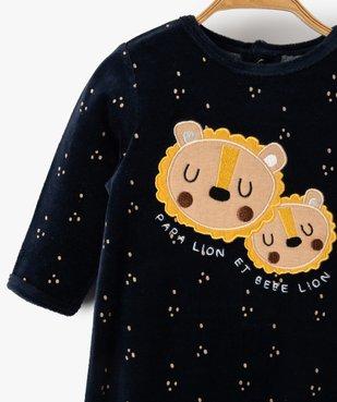 Pyjama dors-bien bébé garçon en velours avec motifs lions vue2 - GEMO(BB COUCHE) - GEMO