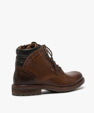 Boots homme zippés à lacets dessus cuir et col rembourré vue4 - GEMO (CASUAL) - GEMO