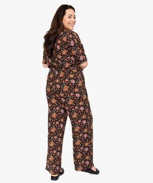 Combinaison pantalon femme à motifs fleuris et haut cache-cœur  vue3 - GEMO (G TAILLE) - GEMO