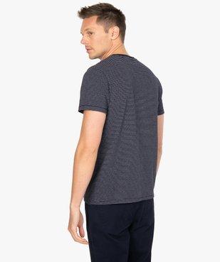 Tee-shirt homme à manches courtes à rayures vue3 - GEMO (HOMME) - GEMO
