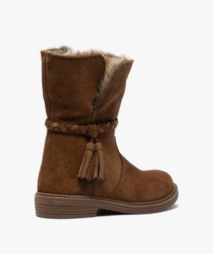 Boots fille zippées dessus cuir et col fourrure imitation vue4 - GEMO (ENFANT) - GEMO