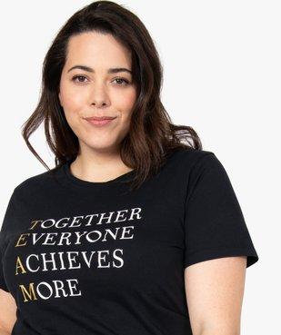 Tee-shirt femme avec inscriptions et paillettes vue2 - GEMO (G TAILLE) - GEMO