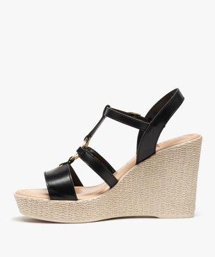 Sandales femme à talon compensé et anneau métallique vue3 - GEMO(URBAIN) - GEMO