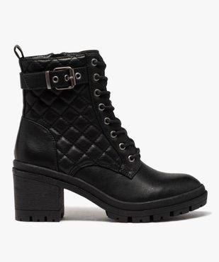 Boots femme à talon carré dessus en matière matelassée vue1 - GEMO(URBAIN) - GEMO