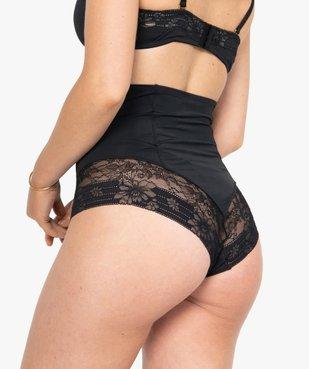 Culotte femme taille haute gainante en dentelle et microfibre vue2 - GEMO(HOMWR FEM) - GEMO
