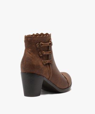 Boots femme unis à talon finitions fantaisie vue4 - GEMO(URBAIN) - GEMO