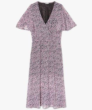 Robe femme imprimée longue avec taille smockée vue4 - GEMO (G TAILLE) - GEMO