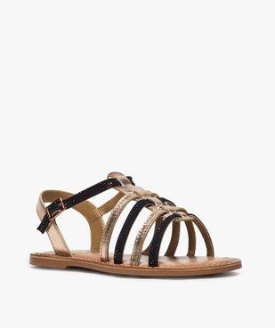 Sandales fille style tropéziennes en cuir métallisé vue2 - GEMO (ENFANT) - GEMO