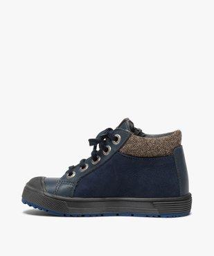 Boots garçon en cuir fermeture lacets et zip - Bopy vue3 - BOPY - GEMO