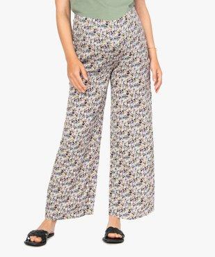 Pantalon de grossesse ample à fleurs et smocks à la taille vue1 - GEMO (MATER) - GEMO