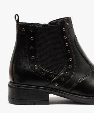 Boots fille en cuir uni style chelsea ornées de clous vue6 - GEMO (ENFANT) - GEMO