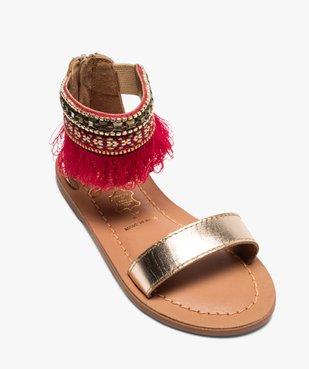 Sandales fille avec bride cheville ornée de perles et franges vue5 - GEMO (ENFANT) - GEMO