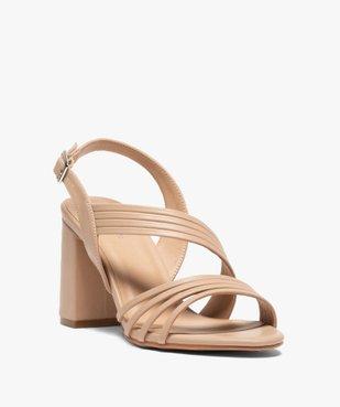 Sandales femme unies à talon et fines brides vue2 - GEMO(URBAIN) - GEMO