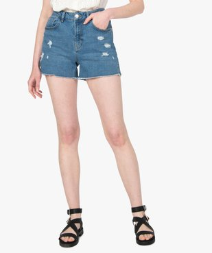 Short femme en jean déchiré sur l'avant vue1 - GEMO(FEMME PAP) - GEMO