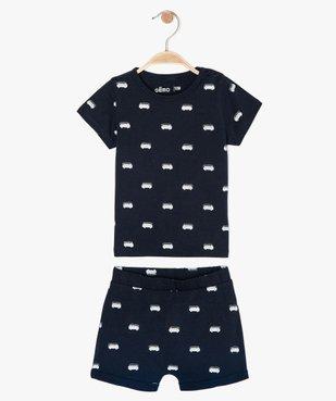 Pyjashort bébé garçon 2 pièces en coton bio vue1 - GEMO(BB COUCHE) - GEMO